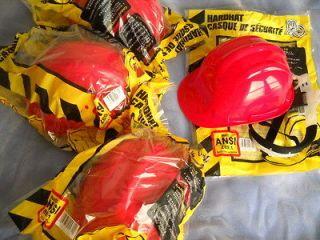 Hardhats NEW Ratchet Adjustable ANSI Z89.1 Work Helmet Hard Hat Red