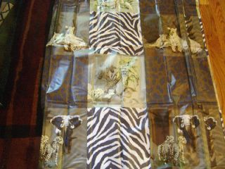 NEW ANIMAL PRINT ZEBRA LEOPARD TROPICAL JUNGLE SAFARI PEVA SHOWER