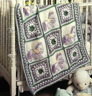 X623 Crochet PATTERN ONLY Carousel Horse Baby Blanket Pattern & Bonus