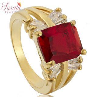 Anniversary Gift Ruby Garnet White Gold GP Ring Lady Fashion Jewelry