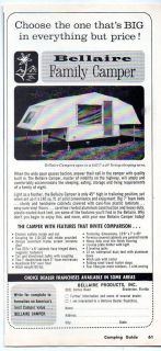 1965 Vintage Ad Bellaire Tent Camper Trailers Camping Bradenton,FL