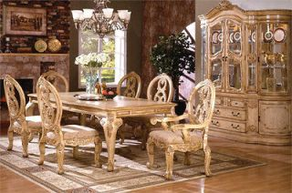 Pcs Dining Set Tuscany Antique White Wash Finish 1 Table & 6 Chair