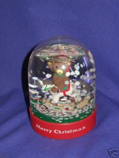 Christmas Teddy Bear/Rocking Horse Snowglobe Dakin 1988