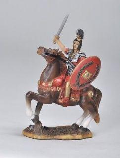 MIDDLE AGE ROMAN ARMORED SOLDIER ON HORSE FIGURINE/STATU E/FIGURE