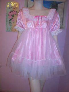 PRETTY PINK SATIN/ SHEER SISSY DRESS * 1X SIZE