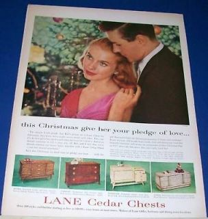 1957 Lane Cedar Hope Chest 4 styles Christmas Ad