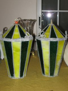 PR VINTAGE LEADED SLAG GLASS CONE SHAPE LAMP SHADES ONLY GREEN AND