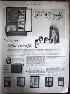 1926 Antique LEONARD Wood Cleanable Refrigerator Full Page Kitchen Ad