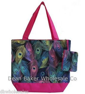 Multi Colored Peacock Feather Print Oversized Shopping Tote Bag Carry