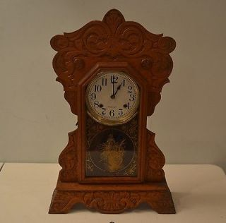 Antique New Haven Clock Shelf Mantel Kitchen Gingerbread RUNNING W