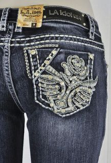 La Idol Boot Cut Jeans W/ White Stitching And Studs, Jewel Designs