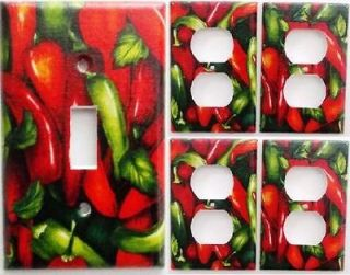 Chili Pepper Kitchen Wall Decor Light Switch Outlet Plate Set 1&4