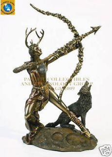 ROMAN MOON GODDESS DIANA ARTEMIS BOW ARROW STATUE WOLF HOWL FULL MOON