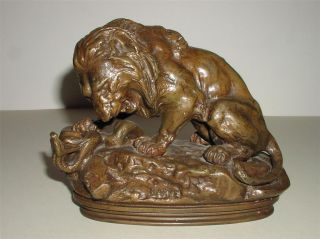 Antoine Louis Baryes Lion and Serpent Sculpture Cast by F