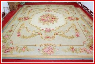 BLUE IVORY w PINK ROSE Aubusson Area Rug FREE SHIP Wool Woven SHABBY