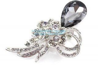 Smokey Austrian Rhinestone Crystal Ornate Bridal Wedding Brooch Pin
