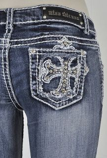 Miss Chic Skinny Jeans With White Stitching Studded Cross Jeweled