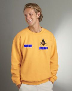 MASON MASONIC CUSTOM EMBROIDERED SWEAT SHIRT WITH LODGE INFO. AND YOUR