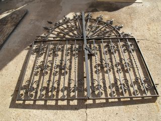 Artistic, hand crafted, custom wrought iron gates w side fence panels