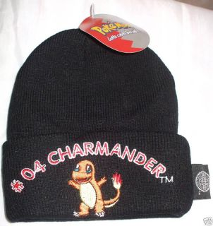 POKEMON BLACK BEANIE HAT CHARMANDER FITS AGE 3 5 YEARS