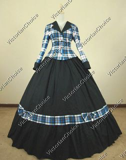Civil War Victorian Tartan Ball Gown Dress Prom Reenactment Clothing