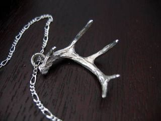 Sterling Silver Shed Whitetail Deer Antler Pendant Necklace Buck