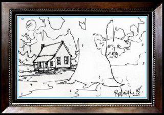 Large ORIGINAL George BLUE DOG Rodrigue Color Ink Drawing Signed Art