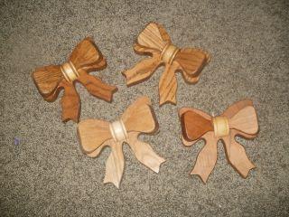 Solid Wood Ribbon Bows Wall Art Decor Hanging Craft Piece Amish Made