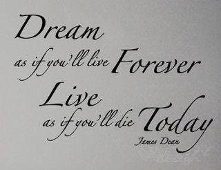 james dean quote WALL DECAL LETTERING DREAM LIVE LOVE FOREVER TODAY