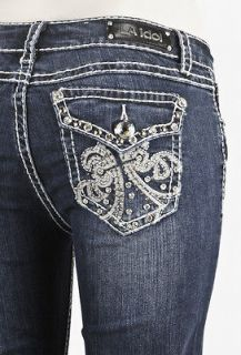 LA Idol Jeans Boot Cut w Stitching Fleur De lis Studed & Jeweled Sz 0