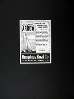 Nimphius Boat Co Arrow Sailboat Building Kit 1947 print Ad