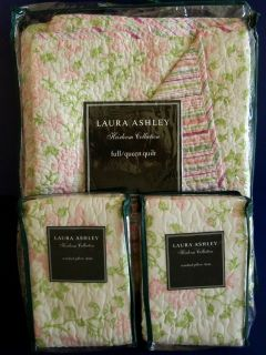 Laura Ashley Flutterby Butterfly Floral Full/Queen Quilt & Shams New