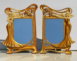 Matching Art Nouveau Style Table Mirrors MINT