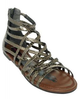 Material Girl Strappy Pewter Snakeskin Sandals NEW