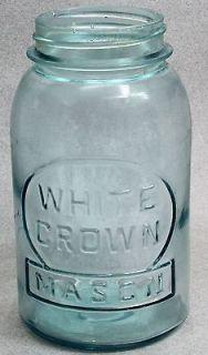 Vintage WHITE CROWN MASON BLUE GLASS QUART SIZE CANNING JAR