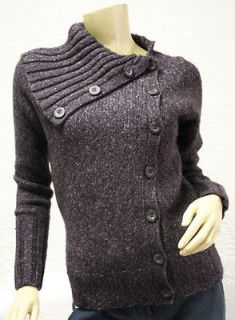 248 BCBG MULBERRY RIBBED SWEATER CARDIGAN TOP NWT S