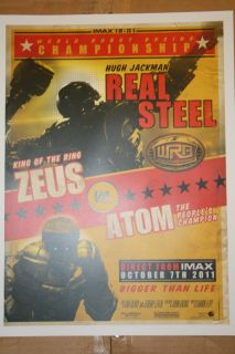 REAL STEEL ZEUS VS ATOM LIMITED EDITION IMAX MOVIE PROMO FIGHT POSTER