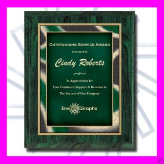 CUSTOM ENGRAVED GREEN RECOGNITION AWARD PLAQUE APPRECIATION GIFT AS