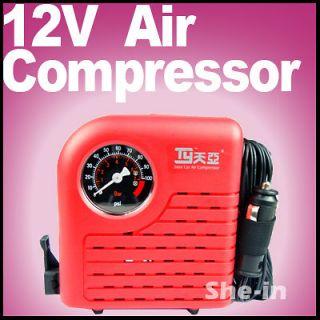 Car/Auto 12V Tyre Inflator Electric Pump Compressor red