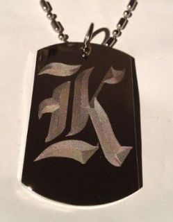 OLD English Font Initial Alphabet Letter K   Dog Tag w/ Metal Chain