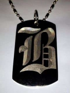 OLD English Font Initial Alphabet Letter B   Dog Tag w/ Metal Chain