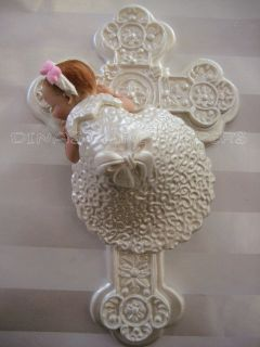 BABY CAKE TOPPER Baptism Christening gown dress CROSS Centerpiece