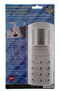 MOTION ALARM AUTO PHONE DIALER. WILL DIAL UP TO 3 #S