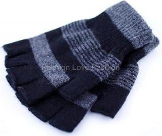 Pair Womens Mens 70% Wool Winter Fingerless Knit Gloves Pick Your
