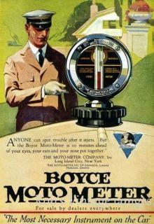Vintage Boyce Moto Meter Car Truck Radiator Hood Ornament 1919 Ad