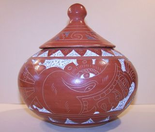 Lidded Sgraffito Pot with Inca Mayan Aztec Pottery Warrior Design