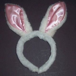 Bunny Ears Pink White Rabbit Costume Easter Adult Child Headband Furry