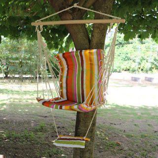 Outdoor Deluxe Hammock Swing Hanging Chair Patio Garden Colorful