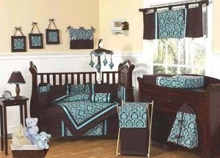 Newly listed BLUE AND BROWN DAMASK BABY BEDDING CRIB SET FOR NEWBORN
