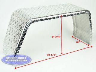 Utility Trailer Fender Square Aluminum Diamond Plate 10 x 32 x 14